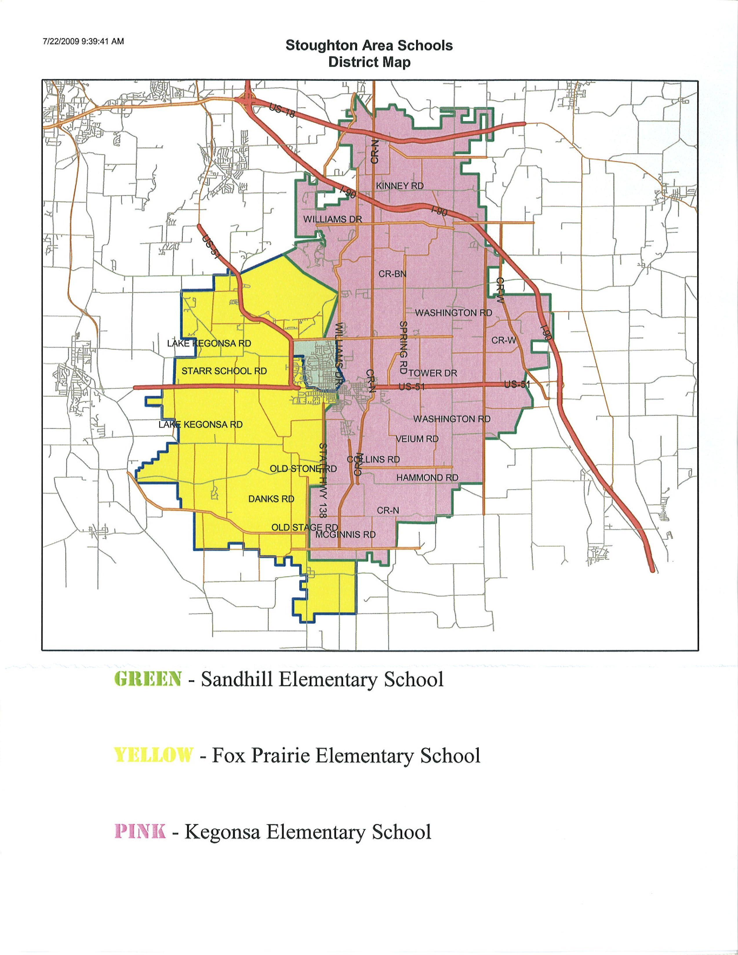 Union Grove Wisconsin Map.Stoughton Area School District Attendance Boundaries